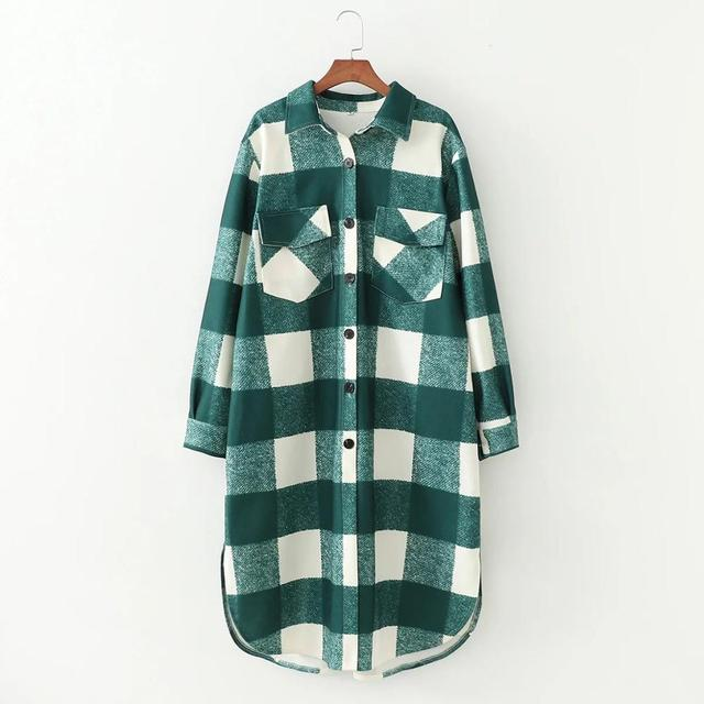 2020 New Fall Winter Women Oversized Coat Long Checked Casual Fashion Chic Women Jackets Long windbreaker Outfits 4
