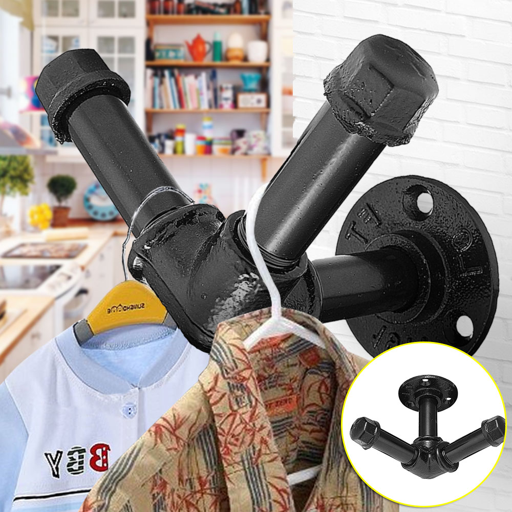 1pc Urban Industrial Style Iron Wall Hooks Hanging Coat Clothes Decorative Water Pipe Shape Coat Display Rack