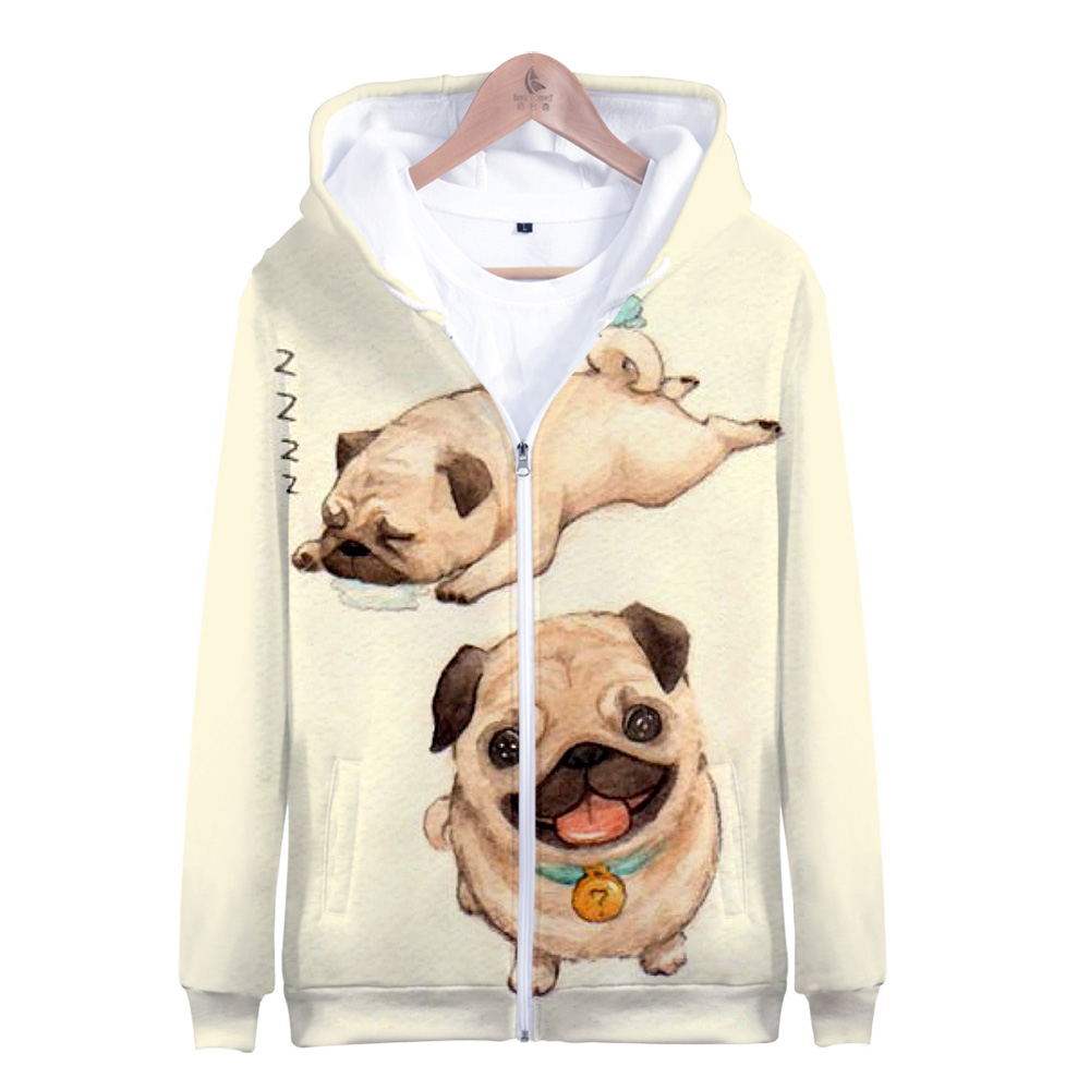 2019 Hot Sale Kawaii Pug Zipper Jacket 3D Hoodies Sweatshirt Kawaii Pug Harajuku Hoodies Women Plus Size For Women Plus Size