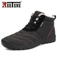 REETENE Men Super Quentes Botas de Inverno Para Os Homens de Pele Quente Dos Homens À Prova D' Água Sapatos Botas de Chuva de Pelúcia Bota de Neve Tornozelo Botas masculina