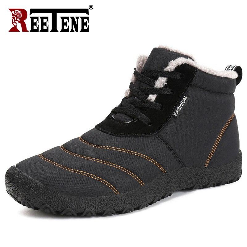 REETENE Super Warm Männer Winter Stiefel Für Männer Warme Pelz Wasserdicht Regen Stiefel Schuhe Plüsch Männer Ankle Schnee Boot Botas masculina