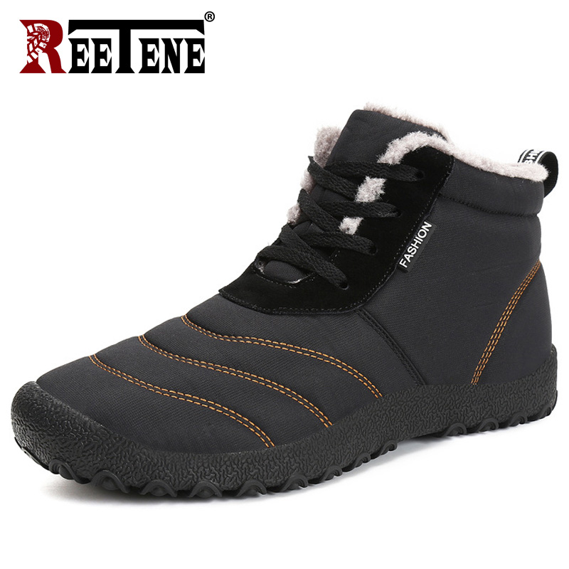 REETENE Super Warm Men Winter Boots For Men Warm Fur Waterproof Rain Boots Shoes Plush Men'S Ankle Snow Boot Botas Masculina