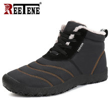REETENE Super Warm Men Winter Boots For Men Warm Fur Waterproof Rain Boots Shoes Plush Men'S Ankle Snow Boot Botas Masculina(China)
