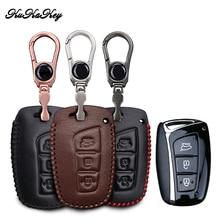 For Hyundai IX45 Tucson Santa Fe Solaris IX35 I30 IX25 Leather Car Key Case Cover Bag Car Keys Accessories
