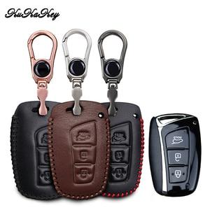 Image 1 - Voor Hyundai IX45 Tucson Santa Fe Solaris IX35 I30 IX25 Lederen Auto Key Case Cover Tas Autosleutels Accessoires