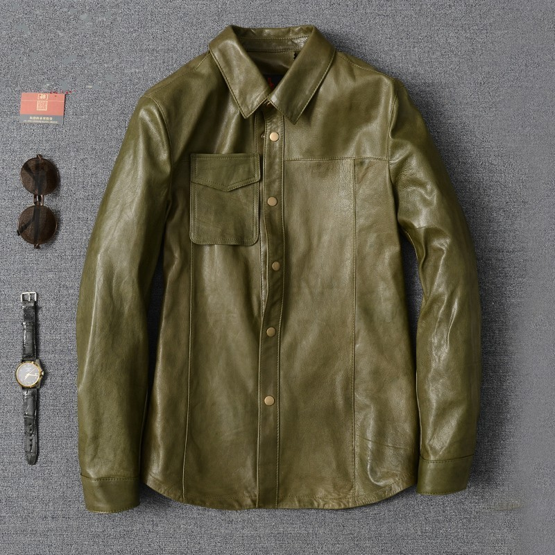 Luxury Army Green Sheepskin Shirt Men 2020 New Lapel Long Sleeve Slim Office Formal Shirt Oversize High Quality Casual Blouse