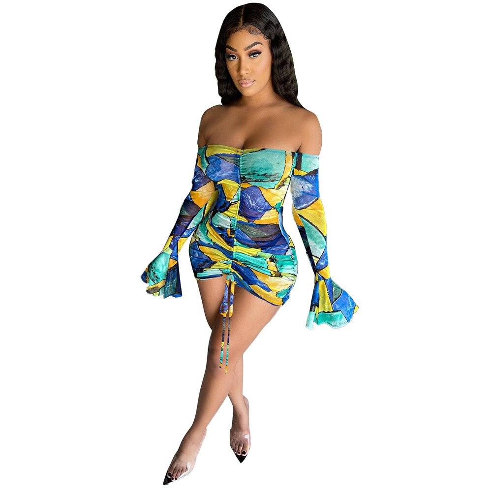 Snake Tie Dye Printed Ruch Drawstring Wrap Dress Woman Off Shoulder Long Flare Sleeve Sheath Dresses Retro Backless Robe Femme 11