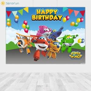 Image 3 - Sensfun דק ויניל שמח יום הולדת סופר כנפי Custom תמונה רקע תינוק מקלחת רקע צילום סטודיו אספקת 7x5FT