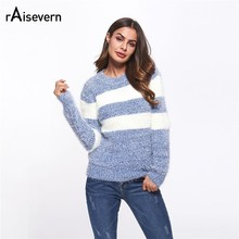 Raisevern Casual Women O Neck Knitted Patchwork Sweater Winter Warm Long Sleeve Pullover Fashion Female Loose Jumper(China)