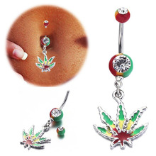 1pc Pot Leaf Belly Button Rings Women Punk Navel Barbell Piercing Ombligo Body Jewelry Navel Rings Stainless Steel Sexy Jewelry цена и фото