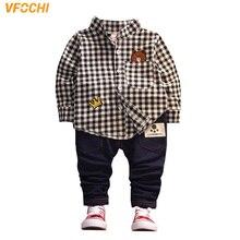 VFOCHI New Boys Clothing Sets AutumnBoy Long Sleeve Plaid Shirt + Striped Pants Set Fashion Kids Clothes 2Pcs