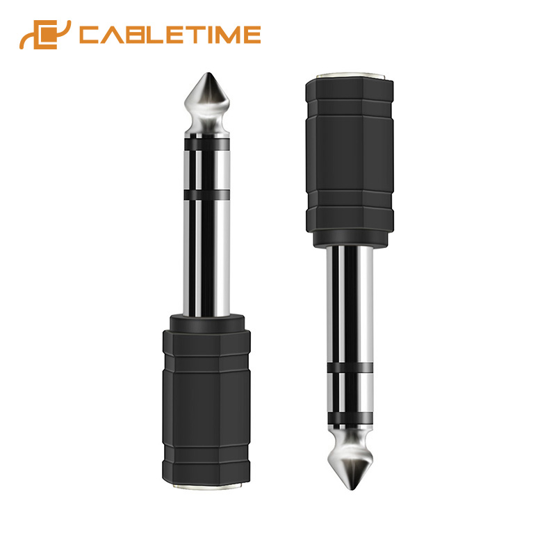 Cabletime Nickle Plated Stereo 3.5mm Female to 6.35mm Male 3pcs <font><b>TRS</b></font> Jack Audio <font><b>Adapter</b></font> Audio Microphone Plug Connector image