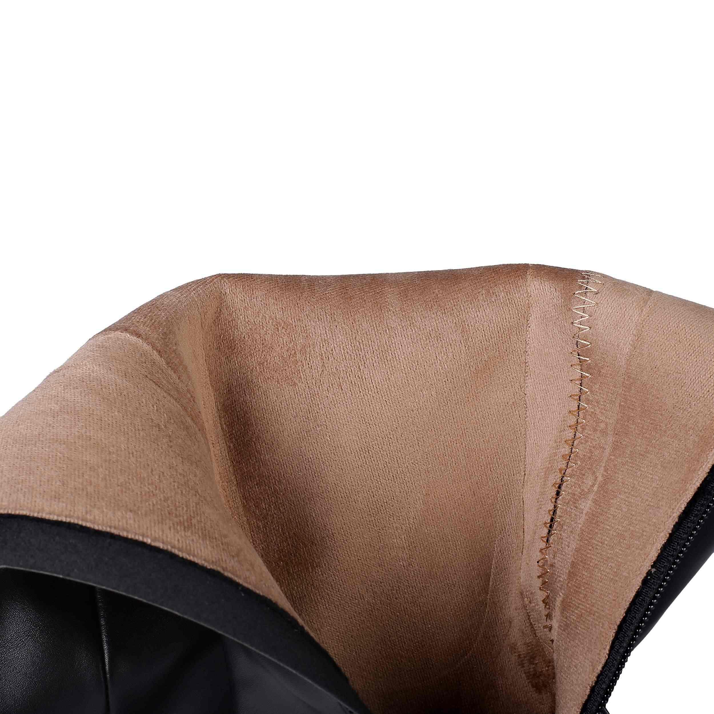 Krazing pot sıcak satış inek deri kalın yüksek topuklu sivri burun büyük boy fermuar soba borusu sıcak tutmak kariyer uyluk yüksek çizmeler L2f5