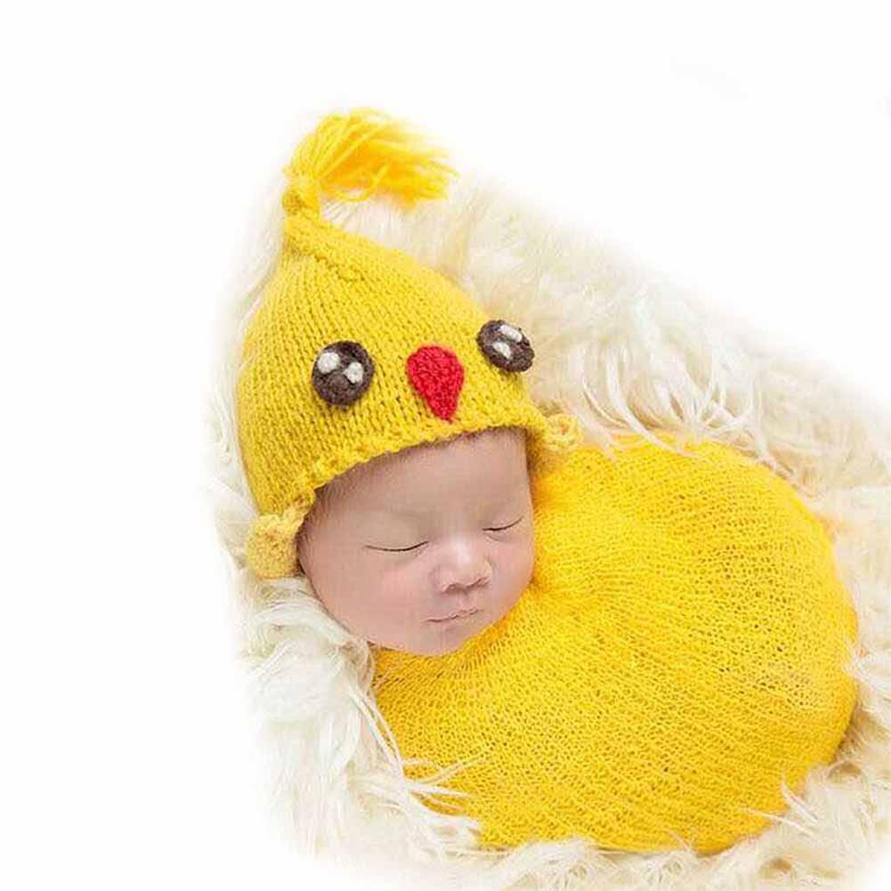 Nanalove Newborn Babys Photography Props Boys Girls Knitted Cartoon Ladybug Chicken Penguin Outfits