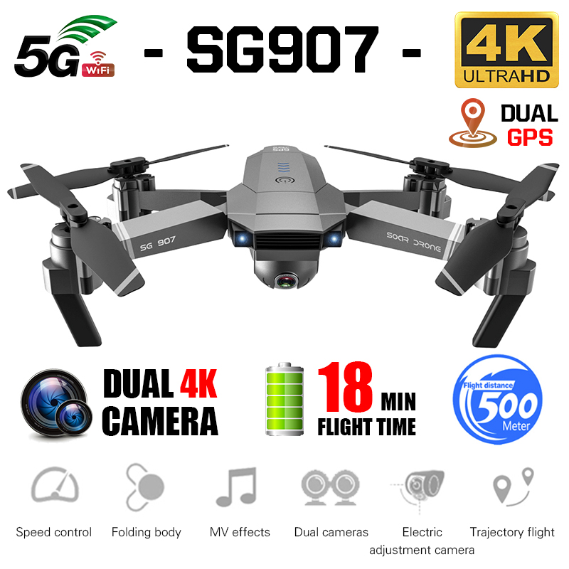 SG907 GPS Drone Professional 4K HD Dual Camera X50 ZOOM 5G WIFI FPV RC Quadcopter Follow Me Foldable Selfie Drones VS S167 SG906
