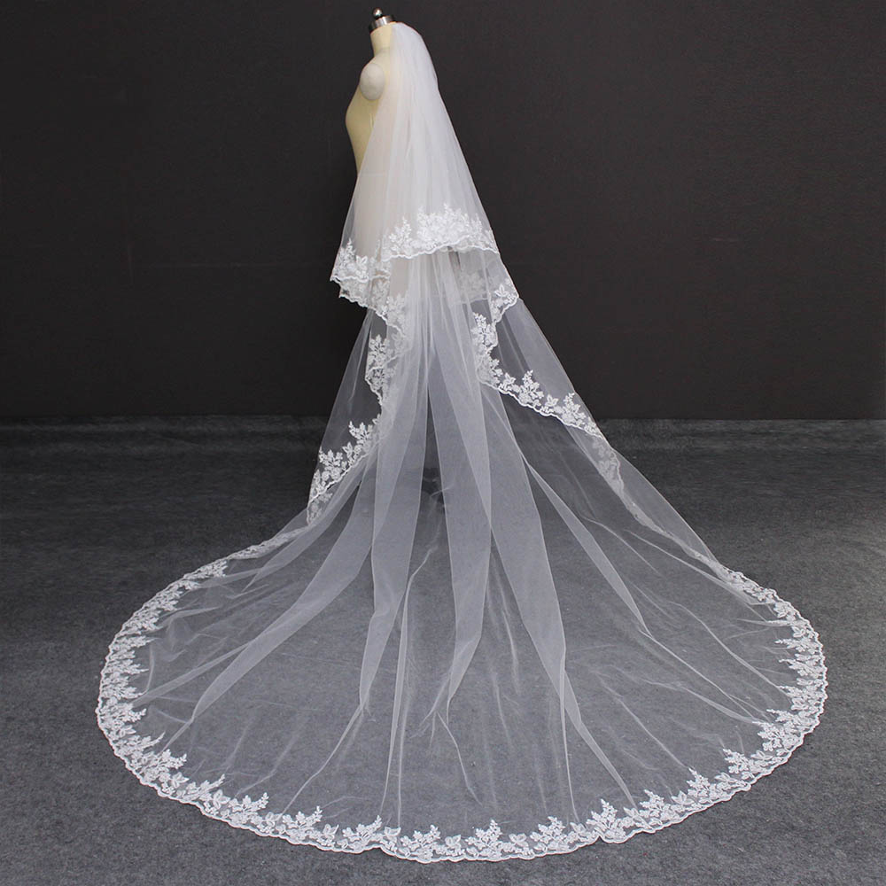 Lace Cathedral 2 Layers Wedding Veil 3 Meters 2T Cover Face Bridal Veil With Comb Blusher Veil Wedding Accessories