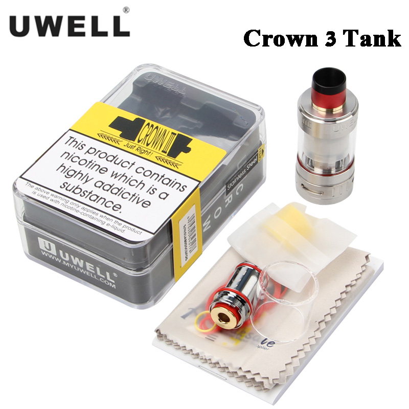 Original Uwell Crown III 5ml Atomizer Crown 3 Sub ohm Tank Top filling design Triple Airflow Slots For E Cigarette Box MOD Vape