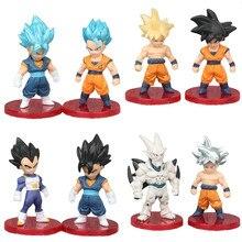 3 pièces/ensemble Anime Dragon Ball Z forme de combat Super Saiyan noir Goku végéta Action figurine Collection PVC modèle enfant cadeau jouet