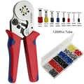 Herramientas de mano herramientas de prensado alicates terminales tubulares eléctricos Caja Mini herramientas de abrazadera conjunto con 1200 piezas de tubo en caso 0,25-10mm2