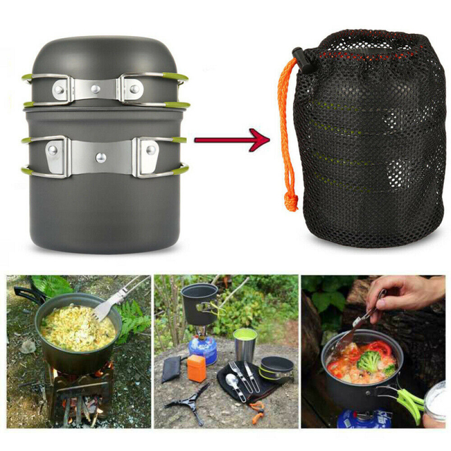 Portable Camping Cookware Kit Aluminum Cooking Set Hiking Picnic Pots Pans Tableware Outdoor Tool BBQ Kitchen Equipment 1