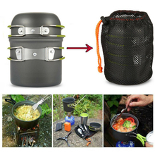 Portable Camping Cookware-Kit Kitchen-Equipment Outdoor-Tool Picnic Hiking Aluminum Pots