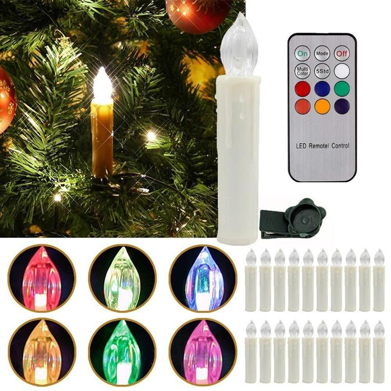 20pcs RGB Party Wedding Christmas New Year Home Tree Decoration Wireless Remote Control Birthday Led Candle Light