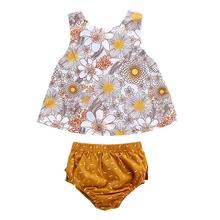 New Fashion Summer Newborn Baby Girl Clothes Casual Sleeveless Floral Print Vest T-shirt & Shorts Suits korean girl fashion summer letter printed kids petal sleeves t shirt shorts suits pretty girl clothes