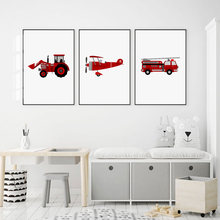 Aircraft Bulldozer Fire Truck Nordic Posters and Prints Wall Art Canvas Painting Nursery Wall Pictures Baby Kids Room Home Decor(China)