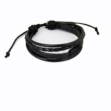 Personality student woven leather bracelet Vintage retractable ladies Jewellery Retractable mens cuff