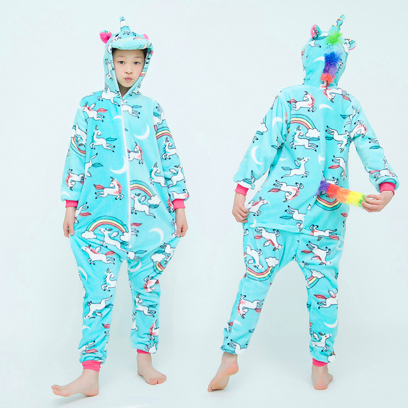 Girls Boys Winter Long Sleeve Onesie Pajamas Unicorn Cartoon Koala Animal Onesies Kids Flannel Jumpsuit Children Pajamas 5