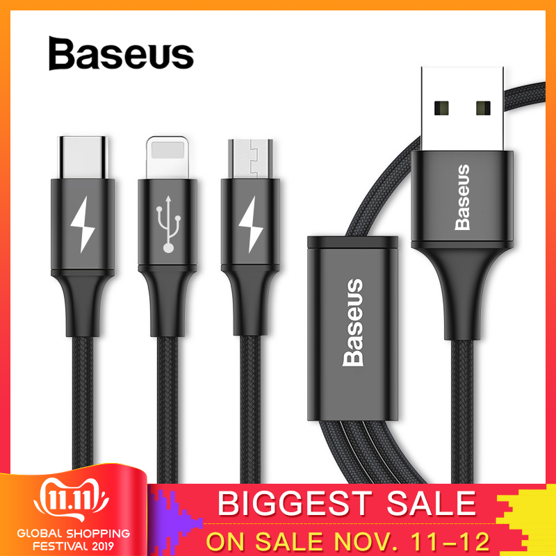 Baseus 3in1 2in1 USB Cable for iPhone X 8 7 6 Cable Micro USB Type C Cable for Samsung S9 S8 Fast Charging Cable 3A Charger Cord-in Mobile Phone Cables from Cellphones & Telecommunications on AliExpress - 11.11_Double 11_Singles' Day