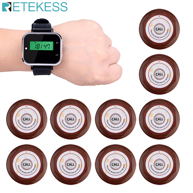 Retekess Waiter Calling System Restaurant Guest Pager Wireless For Cafe Wrist Watch Receiver+10 Call Button Transmitter F3360
