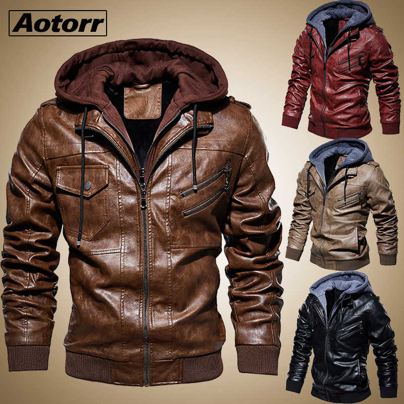 Men's Leather Jacket Casual Motorcycle Removable Hooded Pu Leather Jacket 2019 New Male Zipper PU Coat Warm Outerwear Clothing
