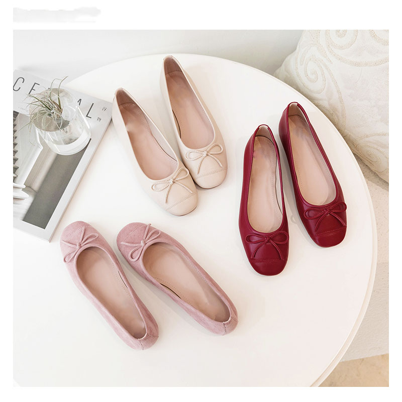 Shallow mouth shoes retro literary flat heel flat bottom one pedal women's shoes bowknot Korean version wild 2020 new