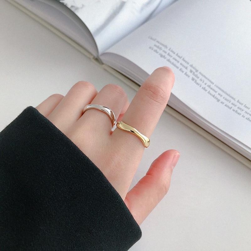 XIYANIKE 925 Sterling Silver Irregular Wave Rings Trendy Simple Geometric Handmade Jewelry for Women Couple Size 17mm Adjustable 4