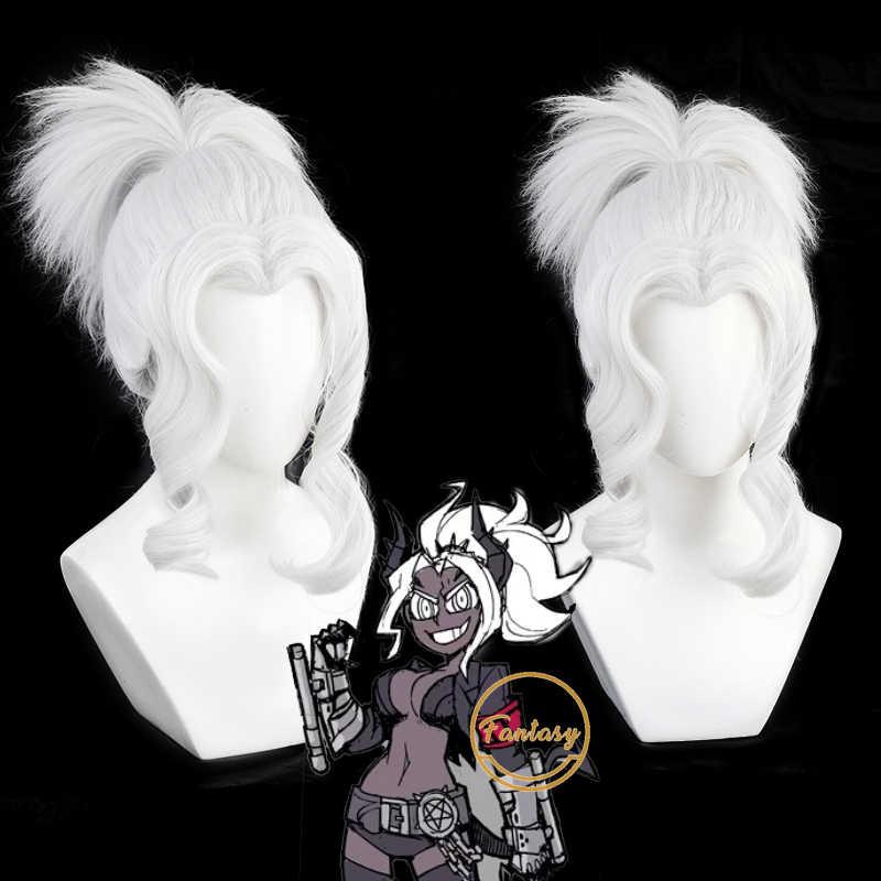 Helltaker Cerberus Cosplay White Hair Wig the Triple Demon ZY Sa