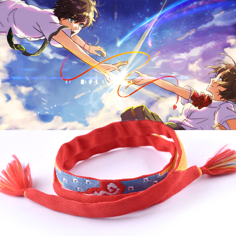 Hot Fashion Movie Your Name Same Style Love Bracelet Polyester Handmade Red Rope Charm Jewelry Bracelets Cosplay Kimi No Na Wa