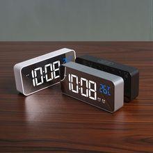 Электронный цифровой зеркальный светодиодный дисплей будильник Многофункциональный температурный календарь USB/AAA питание Повтор Настольные часы