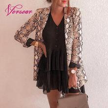 Versear шикарный женский Блейзер, пальто со змеиным принтом, поддельный карман, открытая передняя часть, длинный рукав, тонкое пальто, Женская Весенняя Осенняя верхняя одежда