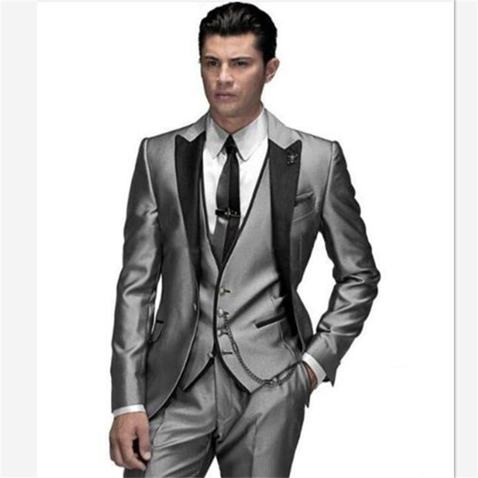 New Classic Men's Suit Smolking Noivo Terno Slim Fit Easculino Evening Suits For Men Charcoal Tuxedo Groom Tuxedos Wedding Tuxed