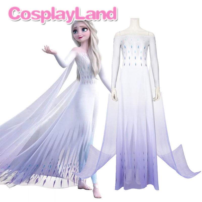 Princess Elsa Cosplay Costume Fancy Ice Snow Flower White Women Dress Cosplay Carnival Halloween Anna Elsa Outfit Cloak Pants
