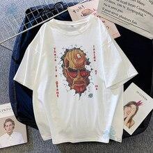 Tshirts mulheres ataque em titã impresso anime verão plus size estilo casual solto oversized confortável legal tops harajuku roupas