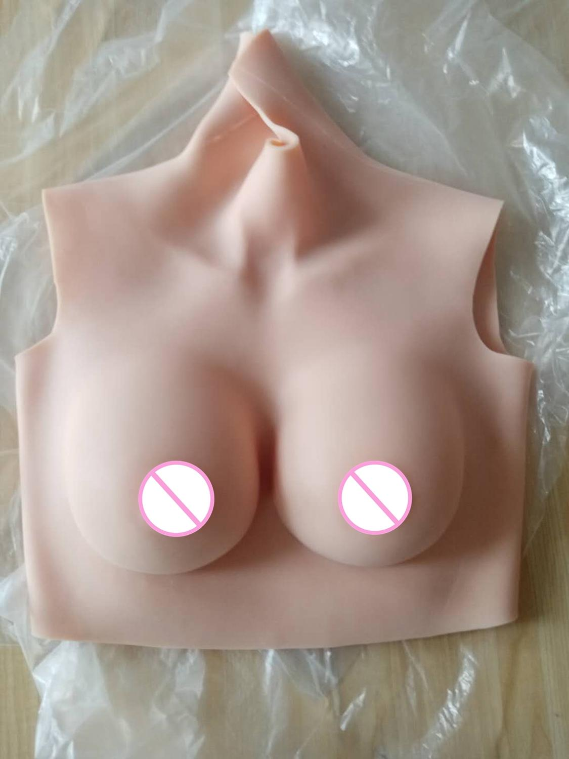 Crossdresser Shemale Transgender Drag Queen B CUP Short High Collar Neck Fake Artificial Boob Realistic Silicone Breast Forms 4G