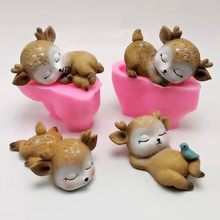 3d sleeping deer silicone mold diy soap gypsum resin mold chocolate fondant cake decoration tools(China)