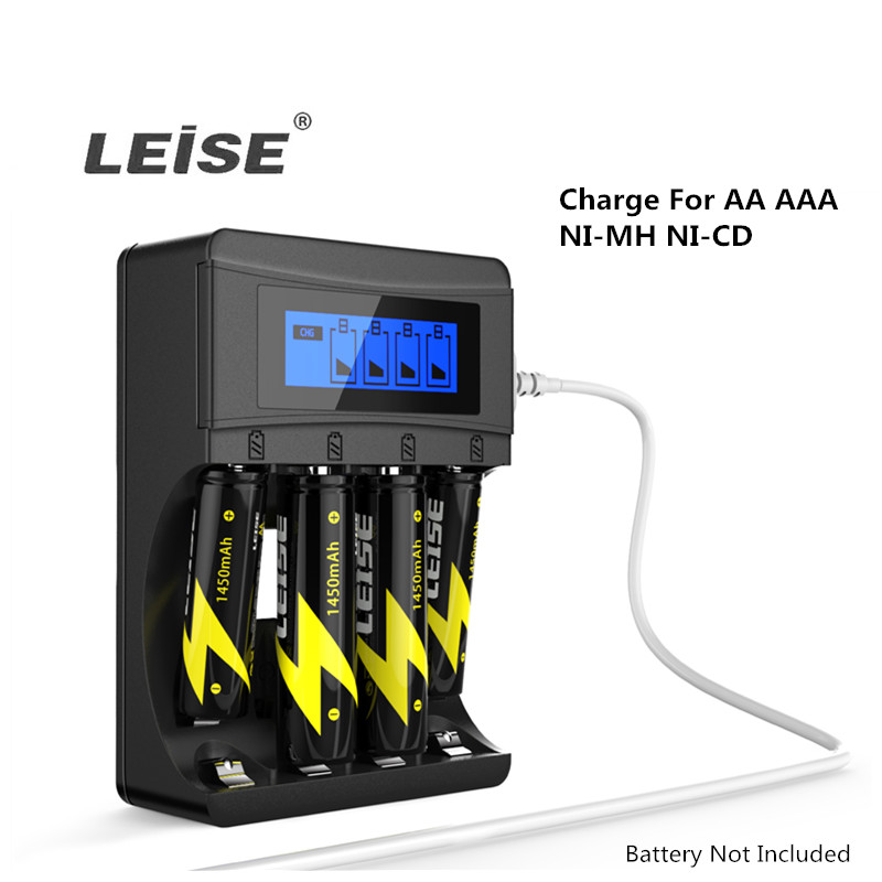 Leise Battery Charger For AA  AAA  Rechargeable Batteries 2a 3a Nimh LCD Display USB Cable Intelligent Cut-off Quick Charging
