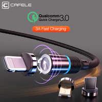CAFELE 3A câble magnétique USB pour iPhone Xs Max Xr X 8 7 6 6s Plus 5 5s SE iPad aimant USB type C USB Micro câbles lumière LED