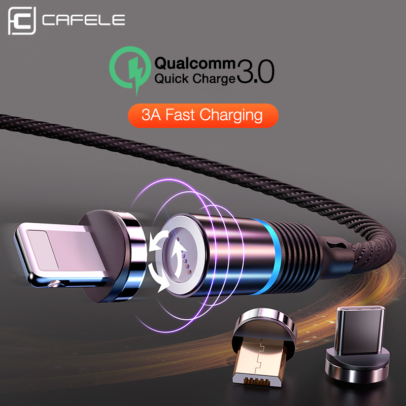 CAFELE 3A Magnetic USB Cable for iPhone Xs Max Xr X 8 7 6 6s Plus 5 5s SE iPad Magnet USB Type C USB Micro Cables Led Light|Mobile Phone Cables| |  - title=