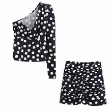 Polka dots drucken one sleeve Frauen tops und blusen zora vicky Weiblich kalt schulter Bluse Top Frauen retro party Tops 2020(China)