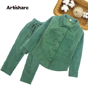 Image 1 - Girls Clothes Set Solid Costume For Girls Casual Style Tracksuit For Girl Spring Autumn Tracksuits For Children 6 8 10 12 14