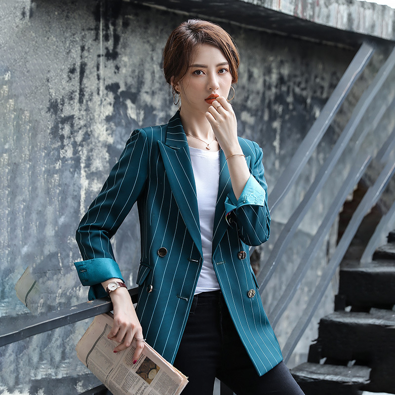 Autumn High Quality Ladies Blazer Casual Double-breasted Striped Jacket Female Business White Collar Jacket Women's Office Suit